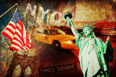 Textured collage of symbols from New York City Royalty Free Stock Images