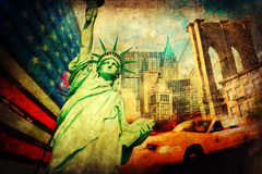 Textured collage of symbols from New York City Stock Images