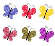 Textured Colourful Butterflies. An illustration featuring an assortment of textured colourful butterflies in blue, red, yellow, purple, and green Stock Images