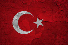 Textured cracked wall effect Turkey flag Royalty Free Stock Photos