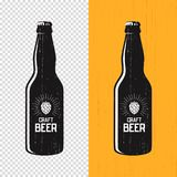 Textured craft beer bottle label design. Vector logo, emblem, ty Stock Photography