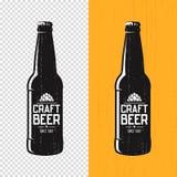 Textured craft beer bottle label design. Vector logo, emblem, ty. Pography stock illustration