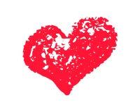 Textured czerwona kierowa wektorowa ilustracja na białym tle St walentynki clipart Kredowej tekstury kierowy bąbel odizolowywa obraz stock