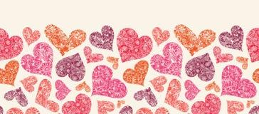 Textured Czerwonych serc Horyzontalny Bezszwowy wzór royalty ilustracja