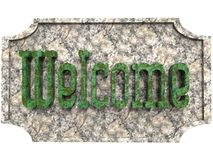 Textured doorplate with inscription in green and gray Stock Images