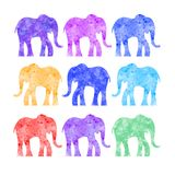 Textured elephant. Illustration of elephant silhouette textured with paint. Art for textile printing and other design projects Royalty Free Stock Image