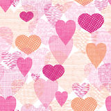 Textured fabric hearts seamless pattern background Royalty Free Stock Image