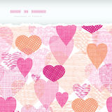 Textured fabric hearts torn horizontal seamless Royalty Free Stock Photos