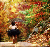 Textured fall. A toddler's walk in the fall holding a parasol and wearing a tutu Royalty Free Stock Photos
