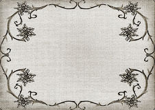 Textured floral ornament frame. Weave texture background Stock Image