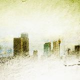 Textured foggy city skyline Royalty Free Stock Photos