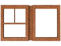 Textured folding photoframe book render in brown Royalty Free Stock Photo