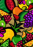 Textured fruit background. A bold illustration of a colorful assortment of fruit with a rich texture Stock Photo