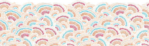 Textured geometric doodle horizontal seamless Stock Image