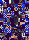 Textured geometric mosaic seamless pattern vector illustration