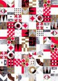 Textured geometric mosaic seamless pattern royalty free illustration