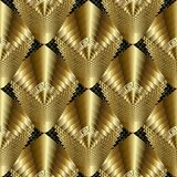 Textured gold 3d greek vector seamless pattern. Tiled radial drapery rhombus with stripes, lines, greek key, meander ornaments. Geometry shapes, zigzag. Modern Stock Photos