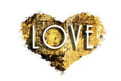 Textured golden metallic shining background. A golden heart with the inscription `love` . Uneven ragged edges, isolated. A golden heart with the inscription ` Stock Photo