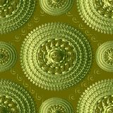 Textured green 3d greek knitted seamless pattern. Vector tapestr. Y patterned background. Embroidery greek key mandala. Meanders panel. Embroidered lace surface Royalty Free Stock Photo