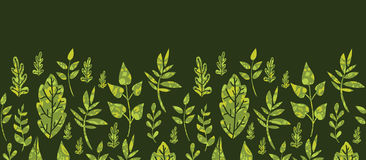 Textured green Leaves Horizontal Seamless Pattern Royalty Free Stock Photo