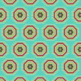 Textured green seamless pattern with decorated geometric and floral designs. Decorated green striped geometric hexagonal and octagonal repeating pattern with stock illustration