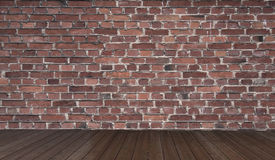 Textured grey brick and stone wall with warm brown wooden floor inside old neglected and deserted interior, masonry and carpentry stock photo