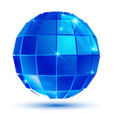 Textured grid dimensional globe, sparkling pixel 3d object.. Royalty Free Stock Photo