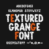 Textured grunge font. Hand drawn english alphabet, punctuation marks and numbers. Vector illustration,eps 10 royalty free illustration
