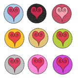 Textured Heart Design Icons Stock Photos