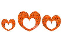 Textured heart-shaped photoframe set in orange Royalty Free Stock Photography