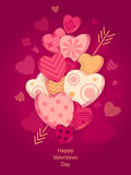 Textured Hearts with 3D effect and arrow on dark pink. For Poster or for Creative Post Card from Happy Valentines Day or for  package or  for web banners of Royalty Free Stock Image