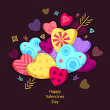 Textured Hearts with 3D effect and arrow on dark Royalty Free Stock Photo