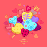 Textured Hearts with 3D effect and arrow on pink Stock Image