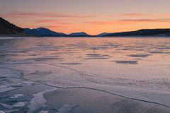 Textured Ice of Abraham Lake stock images