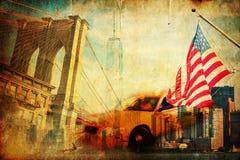 Textured kolaż symbole od Miasto Nowy Jork zdjęcia royalty free