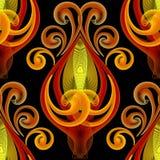 Textured kwiecisty kolorowy iluminujący wektoru 3d bezszwowy wzór Elegancja kwiatów neonowy tło Ręka rysujący rocznik zamazujący ilustracji