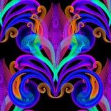 Textured kwiecisty kolorowy iluminujący wektoru 3d bezszwowy wzór Elegancja kwiatów neonowy tło Ręka rysujący rocznik zamazujący ilustracja wektor