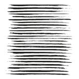 Textured long strokes thick black paint  set Royalty Free Stock Photos