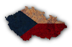 Textured map of Czech Republic in nice colors Stock Photo