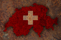 Textured map of Switzerland, Royalty Free Stock Photography
