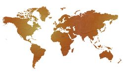 Textured map of the world Royalty Free Stock Photo