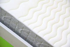 Textured mattress detail on a bed. Empty copy space Royalty Free Stock Photo