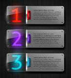 Textured metal banners with luminous numbers. Design templates - textured metal banners with luminous numbers royalty free illustration