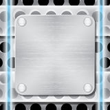 Textured metal plate with rivets. Stock Photo
