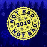 Textured NOT BAD Stamp Seal on Winter Background stock illustration