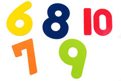 Textured Numbers Six to Ten. Background Stock Photo
