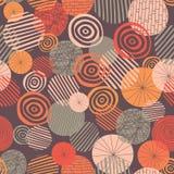 Textured okrąg kształtuje bezszwowego wektoru wzór Menchie, szarość, pomarańcze i koralowi abstrakcjonistyczni okręgi na purpurow ilustracji