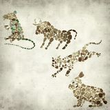 Textured old paper background. With Chinese horoscope animals circle Royalty Free Stock Photo