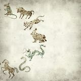 Textured old paper background. With Chinese horoscope animals circle Stock Photos