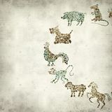 Textured old paper background. With Chinese horoscope animals circle Royalty Free Stock Photos